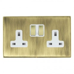 Hamilton Linea-Duo CFX Polished Brass/Antique Brass 2 Gang 13A Switched Socket - Double Pole with White Insert