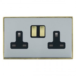 Hamilton Linea-Duo CFX Polished Brass/Bright Steel 2 Gang 13A Switched Socket - Double Pole with Black Insert