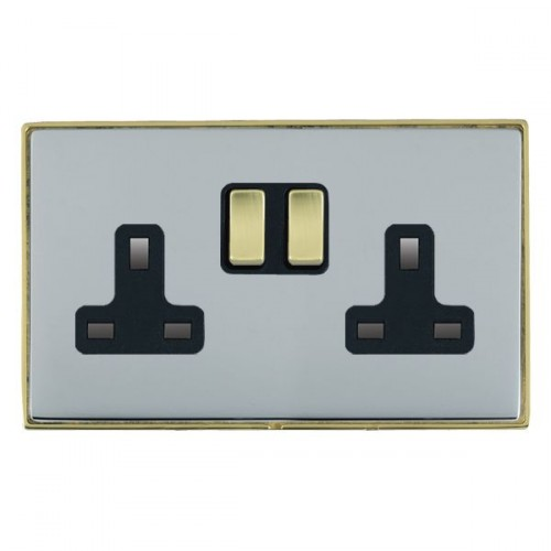Linea-Duo CFX Polished Brass/Bright Steel 2 Gang 13A Switched Socket - Double Pole