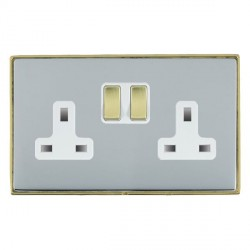 Hamilton Linea-Duo CFX Polished Brass/Bright Steel 2 Gang 13A Switched Socket - Double Pole with White Insert