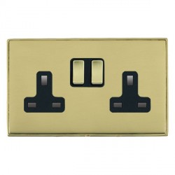Hamilton Linea-Duo CFX Polished Brass/Polished Brass 2 Gang 13A Switched Socket - Double Pole with Black Insert