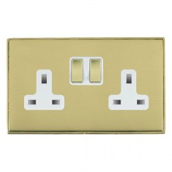 Hamilton Linea-Duo CFX Polished Brass/Polished Brass 2 Gang 13A Switched Socket - Double Pole with White Insert