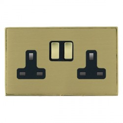 Hamilton Linea-Duo CFX Polished Brass/Satin Brass 2 Gang 13A Switched Socket - Double Pole with Black Insert
