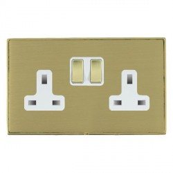 Hamilton Linea-Duo CFX Polished Brass/Satin Brass 2 Gang 13A Switched Socket - Double Pole with White Insert