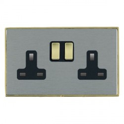 Hamilton Linea-Duo CFX Polished Brass/Satin Steel 2 Gang 13A Switched Socket - Double Pole with Black Insert