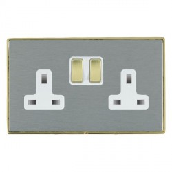 Hamilton Linea-Duo CFX Polished Brass/Satin Steel 2 Gang 13A Switched Socket - Double Pole with White Insert
