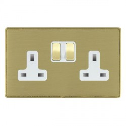 Hamilton Linea-Duo CFX Satin Brass/Satin Brass 2 Gang 13A Switched Socket - Double Pole with White Insert