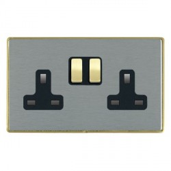 Hamilton Linea-Duo CFX Satin Brass/Satin Steel 2 Gang 13A Switched Socket - Double Pole with Black Insert