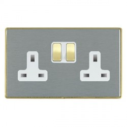 Hamilton Linea-Duo CFX Satin Brass/Satin Steel 2 Gang 13A Switched Socket - Double Pole with White Insert