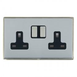 Hamilton Linea-Duo CFX Satin Nickel/Bright Steel 2 Gang 13A Switched Socket - Double Pole with Black Insert