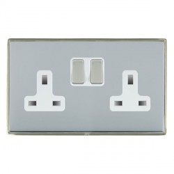 Hamilton Linea-Duo CFX Satin Nickel/Bright Steel 2 Gang 13A Switched Socket - Double Pole with White Insert