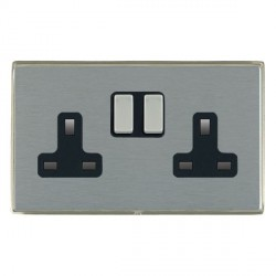 Hamilton Linea-Duo CFX Satin Nickel/Satin Steel 2 Gang 13A Switched Socket - Double Pole with Black Insert
