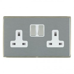 Hamilton Linea-Duo CFX Satin Nickel/Satin Steel 2 Gang 13A Switched Socket - Double Pole with White Insert
