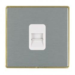Hamilton Linea-Duo CFX Satin Brass/Satin Steel 1 Gang Telephone Master with White Insert