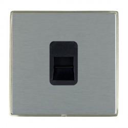 Hamilton Linea-Duo CFX Satin Nickel/Satin Steel 1 Gang Telephone Master with Black Insert