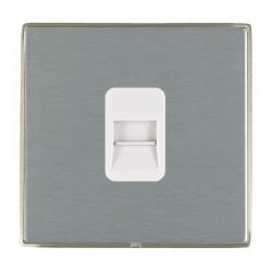 Hamilton Linea-Duo CFX Satin Nickel/Satin Steel 1 Gang Telephone Master with White Insert