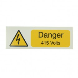 10 Self Adhesive Vinyl Danger 415 Volts Stickers