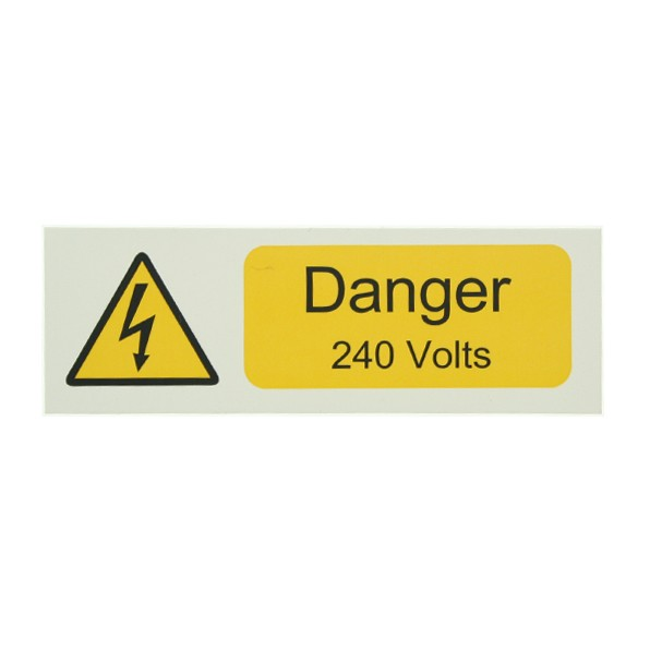 10 Self Adhesive Vinyl Danger 240 Volts Stickers At UK Electrical Supplies