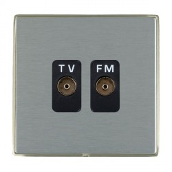 Hamilton Linea-Duo CFX Satin Nickel/Satin Steel 2 Gang Isolated Television/FM 1in/2out with Black Insert