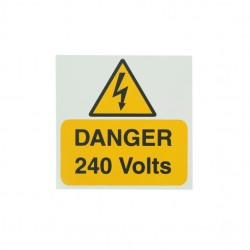 5 Self Adhesive Rigid PVC Danger 240 Volts Stickers