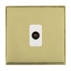 Hamilton Linea-Duo CFX Polished Brass/Polished Brass 1 Gang Non Isolated Television 1in/1out with White Insert