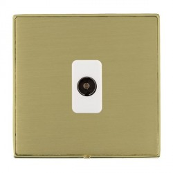 Hamilton Linea-Duo CFX Polished Brass/Satin Brass 1 Gang Non Isolated Television 1in/1out with White Insert