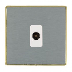 Hamilton Linea-Duo CFX Satin Brass/Satin Steel 1 Gang Non Isolated Television 1in/1out with White Insert