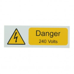 5 Self Adhesive Rigid PVC Danger 240 Volts Small Stickers