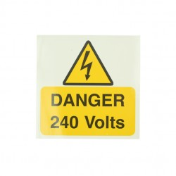 10 Self Adhesive Vinyl Danger 240 Volts Large Stickers