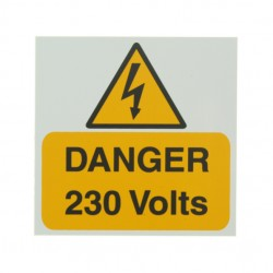 5 Self Adhesive Rigid PVC Danger 230 Volts Stickers