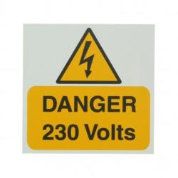 5 Self Adhesive Rigid PVC Danger 230 Volts Stickers