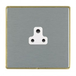 Hamilton Linea-Duo CFX Satin Brass/Satin Steel 1 Gang 2A Unswitched Socket with White Insert