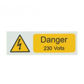 5 Rigid PVC SA Danger 230 Volts Small Stickers
