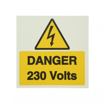 10 Self Adhesive Vinyl Danger 230 Volts Large Stickers