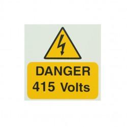 5 Self Adhesive Rigid PVC Danger 415 Volts Stickers