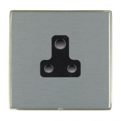 Hamilton Linea-Duo CFX Satin Nickel/Satin Steel 1 Gang 5A Unswitched Socket with Black Insert