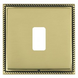 Hamilton Linea-Georgian CFX Antique Brass/Polished Brass 1 Gang Grid Fix Aperture Plate with Grid