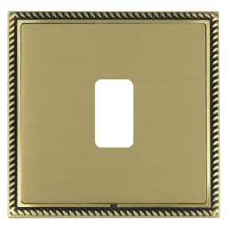 Hamilton Linea-Georgian CFX Antique Brass/Satin Brass 1 Gang Grid Fix Aperture Plate with Grid