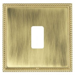 Hamilton Linea-Georgian CFX Polished Brass/Antique Brass 1 Gang Grid Fix Aperture Plate with Grid