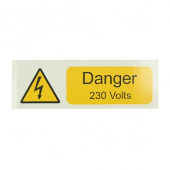 10 Self Adhesive Vinyl Danger 230 Volts Small Stickers