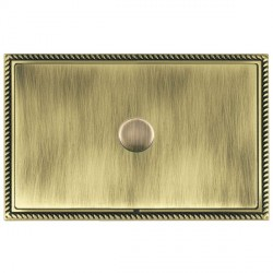 Hamilton Linea-Georgian CFX Antique Brass/Antique Brass Push On/Off Dimmer 1 Gang 2 way with Antique Bras...