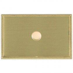 Hamilton Linea-Georgian CFX Polished Brass/Satin Brass Push On/Off Dimmer 1 Gang 2 way with Polished Bras...
