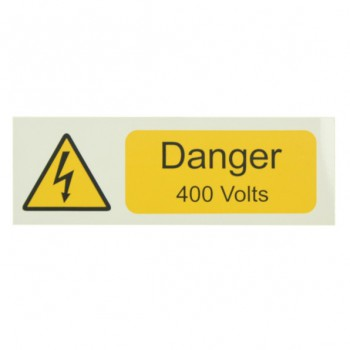 10 Self Adhesive Vinyl Danger 400 Volts Small Stickers