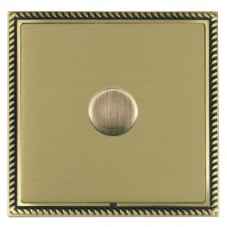 Hamilton Linea-Georgian CFX Antique Brass/Satin Brass Push On/Off Dimmer 1 Gang 2 way Inductive with Anti...