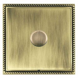 Hamilton Linea-Georgian CFX Antique Brass/Antique Brass Push On/Off Dimmer 1 Gang 2 way with Antique Brass Insert
