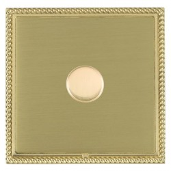 Hamilton Linea-Georgian CFX Polished Brass/Satin Brass Push On/Off Dimmer 1 Gang 2 way with Polished Brass Insert