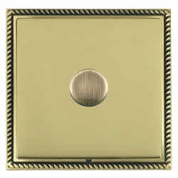 Hamilton Linea-Georgian CFX Antique Brass/Polished Brass Push On/Off Dimmer 1 Gang 2 way with Antique Bra...