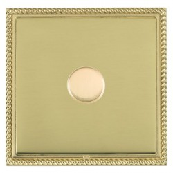 Hamilton Linea-Georgian CFX Polished Brass/Polished Brass Push On/Off Dimmer 1 Gang 2 way with Polished B...