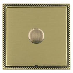 Hamilton Linea-Georgian CFX Antique Brass/Satin Brass Push On/Off Dimmer 1 Gang Multi-way Trailing Edge w...