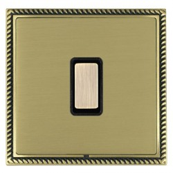 Hamilton Linea-Georgian CFX Antique Brass/Satin Brass 1 Gang Multi way Touch Master Trailing Edge with Black Insert